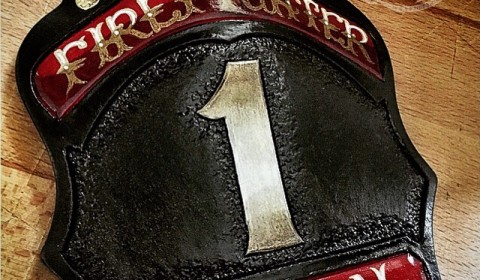 Firefighter shield Texas flag